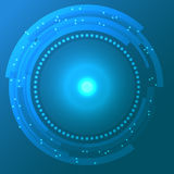 Cyan abstrakt bakgrund för vektor med teknologicirklar Arkivbilder