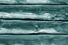 Cyan-blaue Blockhauswand Lizenzfreie Stockbilder