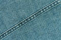 Cyan-blaue Farbjeans-Stoffbeschaffenheit mit Stich Stockfotos