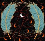 Cyan-blaue Federn auf einem schwarzen Hintergrund, roten Linien und orange Monaten und in der Mitte ein weißer sichelförmiger Mon Lizenzfreies Stockfoto