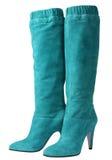 Cyan-blaue hohe Schuhe Stockbilder