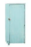 Cyan-blaue Holztür lokalisiert auf weißem Hintergrund Lizenzfreies Stockfoto