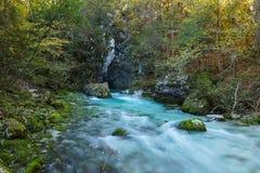 Cyan-blauer Fluss im Herbst Stockfotografie