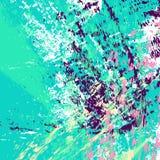 Cyan-blauer Hintergrund Handgezogene multi farbige strukturierte Streifen, Anschläge, spritzt und Stellen stock abbildung