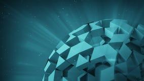 Cyan-blauer polygonaler Ball 3D übertragen Stockbild