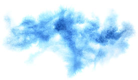 Cyan blue diffused watercolor stain. Abstract textured background. Element for your design Royalty Free Stock Photography