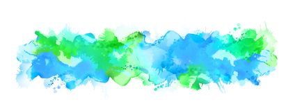 Blue watercolor big blot spread to the light background. stock illustration