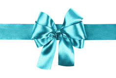 Cyan bow photo made from silk Stock Images