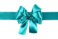 Cyan bow photo made from silk Stock Photography
