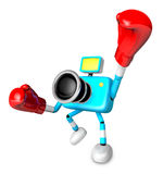 A cyan Camera Character and a boxing play. Create 3D Camera Robo Stock Photo