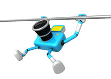 Cyan Camera character is hanging in horizontal bar. Create 3D Ca Royalty Free Stock Images