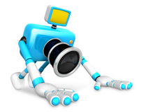 The Cyan Camera Character is push-up. Create 3D Camera Robot Ser Royalty Free Stock Images