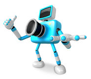 The Cyan Camera Character Taking the right hand is the best gest Royalty Free Stock Photography