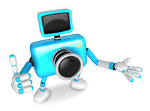 The Cyan Camera Character Taking the right hand is the best gest Stock Images