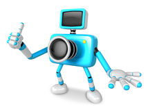 The Cyan Camera Character Taking the right hand is the best gest Royalty Free Stock Photo