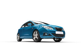 Cyan Car - Front View. Cyan car on white background royalty free stock photos