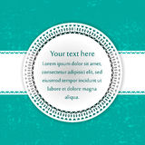 Cyan card with the white lace Stock Photography