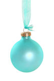 Cyan Christmas Ball. Hanging on a ribbon. Isolated on a white background with a clipping path royalty free stock photography