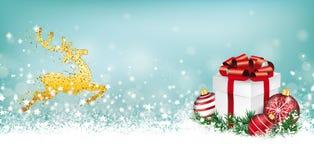 Cyan Christmas Header Reindeer Snowflakes Gift Baubles Stock Images