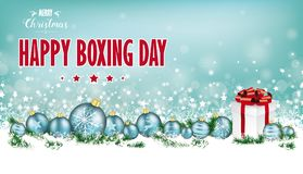 Cyan Christmas Header Snowflakes Baubles Gift Boxing Day Royalty Free Stock Image