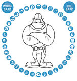 Cyan circular Health and Safety Icon collection Royalty Free Stock Photos