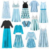 Cyan clothes isolated. Set of cyan woman clothes isolated over white royalty free stock image