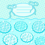 Cyan Cloud Invitation Card with Label Royalty Free Stock Photo