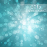 Cyan color abstract bokeh circles New Year greeting card Royalty Free Stock Photos