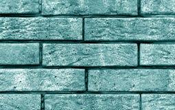 Cyan color brick wall texture. Stock Photos