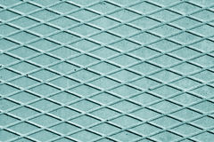 Cyan color cement floor with rhombus pattern. Royalty Free Stock Photos