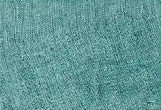 Cyan color hessian sack cloth texture. Royalty Free Stock Photos