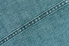 Cyan color jeans cloth texture with stitch. Stock Photos