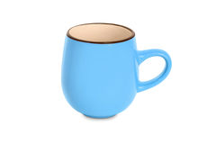 Cyan cup. Isolated on white background royalty free stock photo
