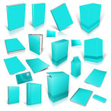 Cyan 3d blank cover collection. Isolated on white Stock Image