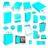Cyan 3d blank cover collection. Isolated on white Royalty Free Stock Photos