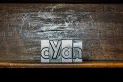Cyan fait avec les types métalliques Photographie stock