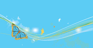 Blue fantasy background with butterfly Royalty Free Stock Photos