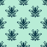 Cyan floral seamless pattern Royalty Free Stock Photo