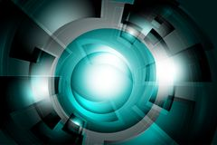 Abstract tech background. Cyan geometric background. Abstract technology arc lines with light Stock Images