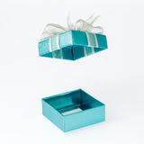 Cyan Gift Box Open Cover Royalty Free Stock Photo
