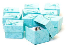 Cyan gift boxes with ring Stock Photos