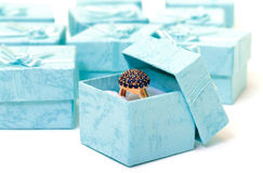 Cyan gift boxes with ring Stock Photo