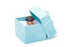 Cyan gift boxes with ring Stock Image
