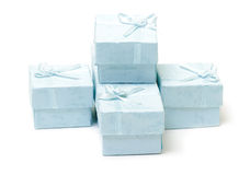 Cyan gift boxes Stock Photography