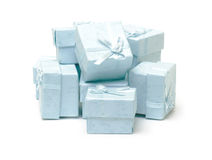 Cyan gift boxes Stock Images