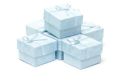 Cyan gift boxes Stock Image