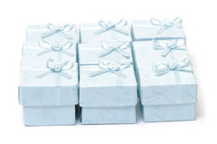 Cyan gift boxes Royalty Free Stock Photography