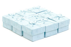 Cyan gift boxes Stock Photo