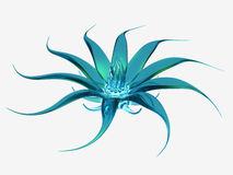 Cyan glass flower on white background. 3D rendered cyan glass flower on white background Royalty Free Stock Image