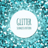 Cyan glitter seamless pattern. Blue glitter christmas seamless pattern. Abstract sparkle glittering background. Vector shiny texture. For web and print design Royalty Free Stock Images